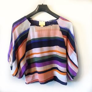 Anthropologie Maeve Striped Dolman Top S 100% Silk
